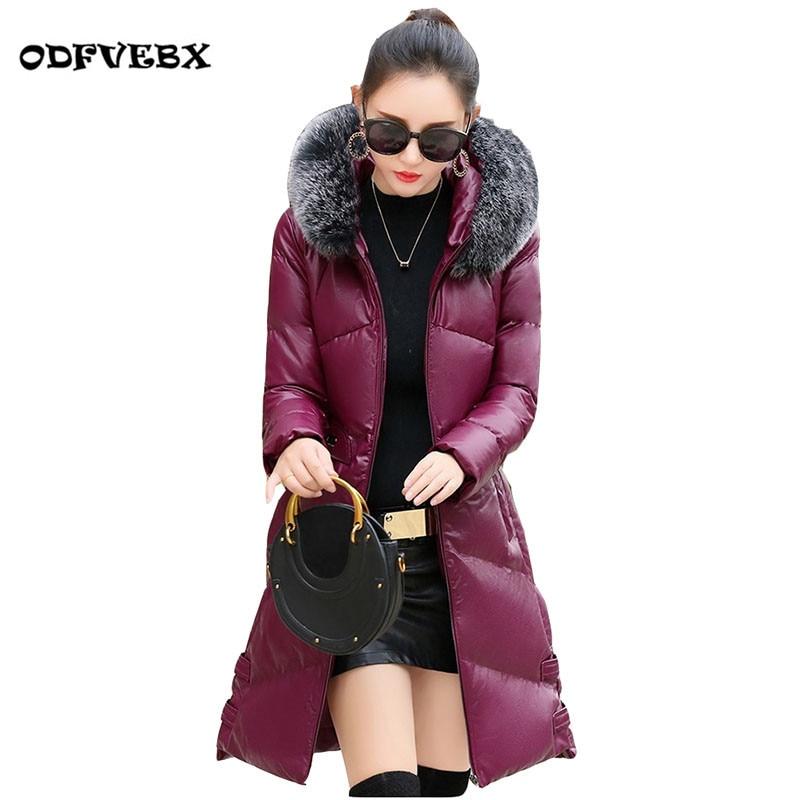 Boutique PU en cuir manteau femmes long manteau d'hiver nouveau Haut De gamme slim mince à capuchon épais col de fourrure col manteau marée ODFVEBX HY137