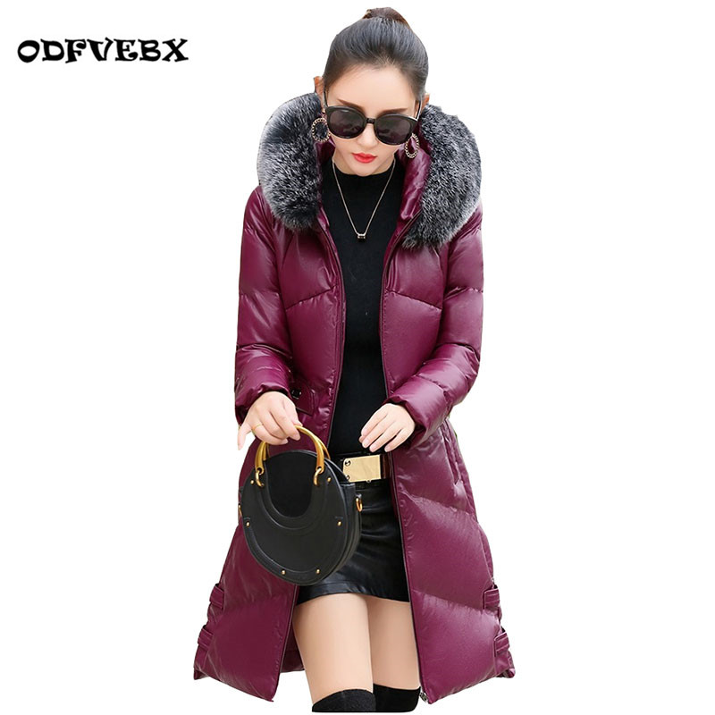 Boutique PU   leather   coat women long winter coat new High end slim thin hooded thick fur collar collar coat tide ODFVEBX HY137