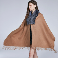 JKP NEW Women Real silve fox Fur collar Scarves Woolen Shawls with Tassel Skin Luxury Elegant Women Solid Cashmere Shawll