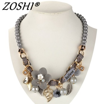 NEW fashion necklace collar Flower Necklaces & Pendants trendy choker chunky metal pearl chain