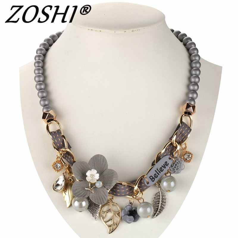 2019 NEW fashion necklace collar Flower Necklaces & Pendants trendy choker chunky metal chain statement simulated pearl necklace