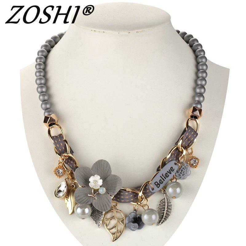 2017 NEW fashion necklace collar Flower Necklaces & Pendants trendy choker chunky metal chain statement simulated pearl necklace Ожерелье