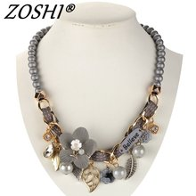 2017 NEW fashion necklace collar Flower Necklaces & Pendants trendy choker chunky metal chain statement simulated pearl necklace