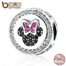 Bamoer clásica plata de ley 925 del nudo del arco de minni cartoon bolas encantos ajuste pulseras beads & jewelry making pas381