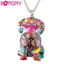 Bonsny Maxi Statement Metal Alloy Enamel Labrador Dog Necklace Chain Collar Choker Pendant 2016 Fashion New Enamel Jewelry Women(China)