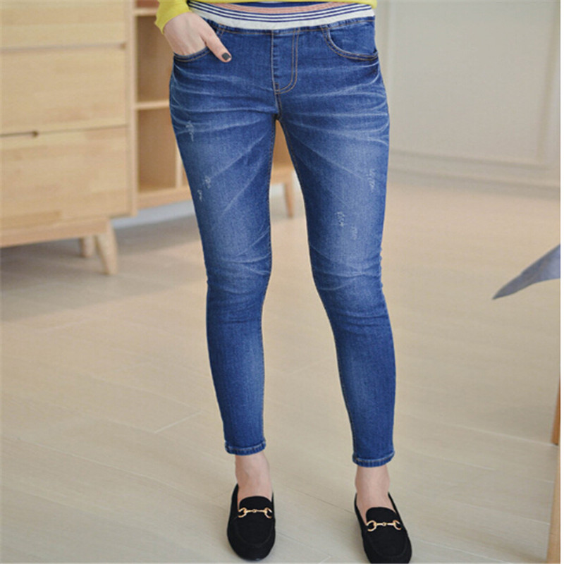 Hodisytian New Fashion Women Jeans Slim Elastic Denim Capris Pencil Pants Stretch Trousers Pantalon Femme Korean Plus Size 5XL 2014 new fashion reminisced men vintage trousers casual jeans wash capris pants loose plus size overalls zipper denim jumpsuit