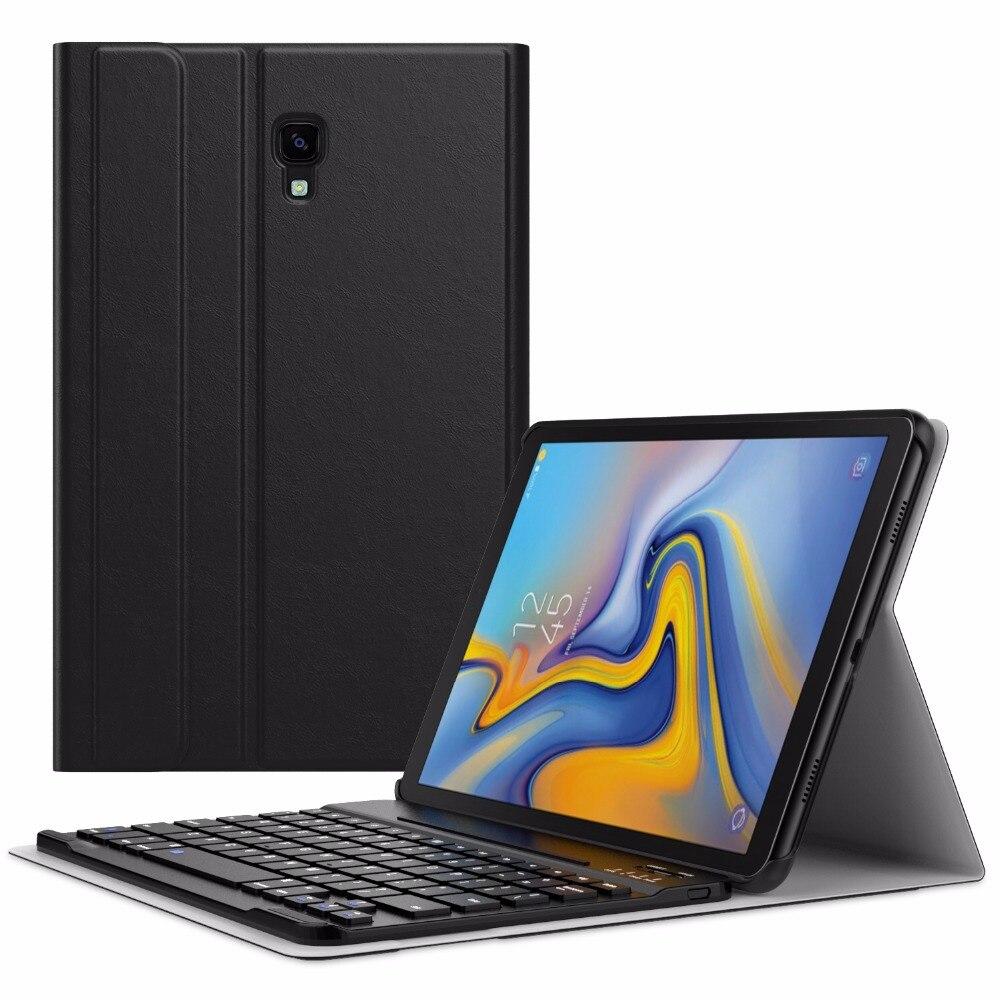 MoKo Clavier étui pour samsung Galaxy Tab A 10.5 2018 Comprimé à libération SM-T590/SM-T595, Coque Slim Portefeuille D'affaires Housse de Support