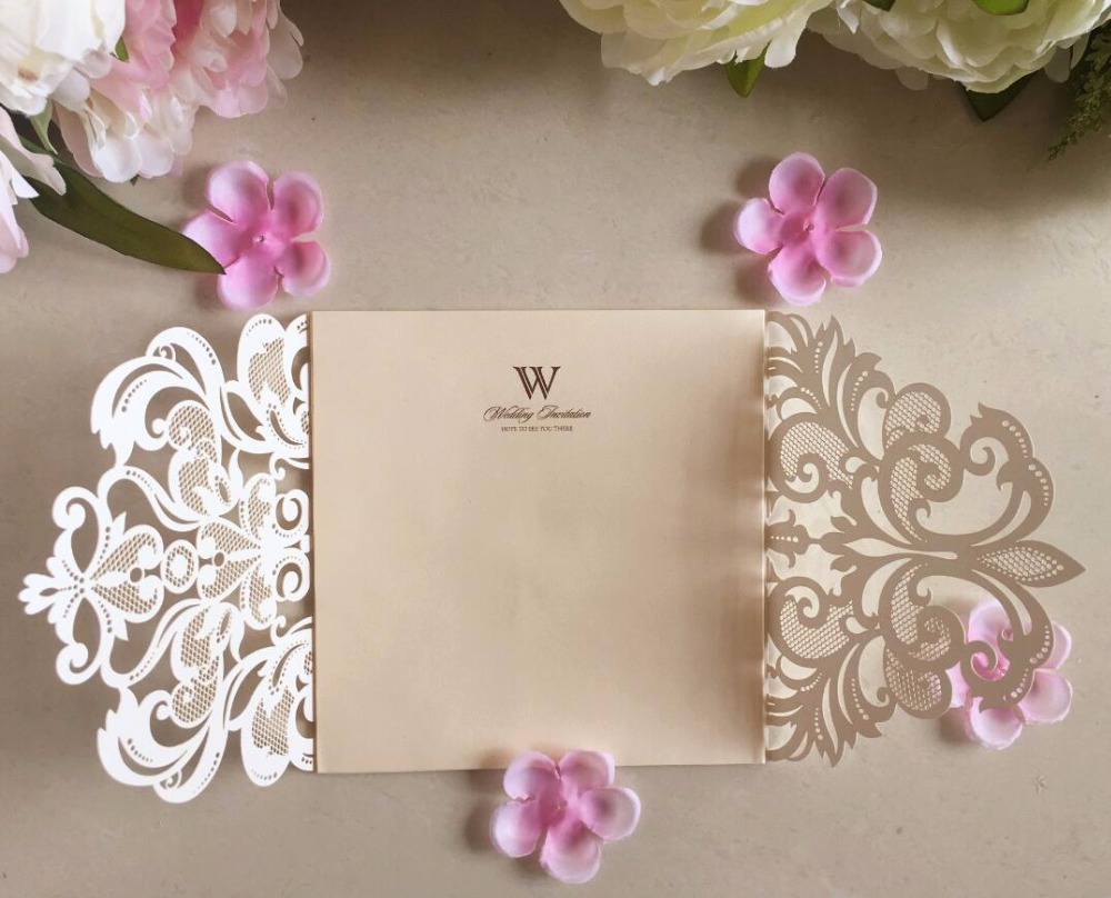 Laser cut lace wedding invitations card with champagne insert ...