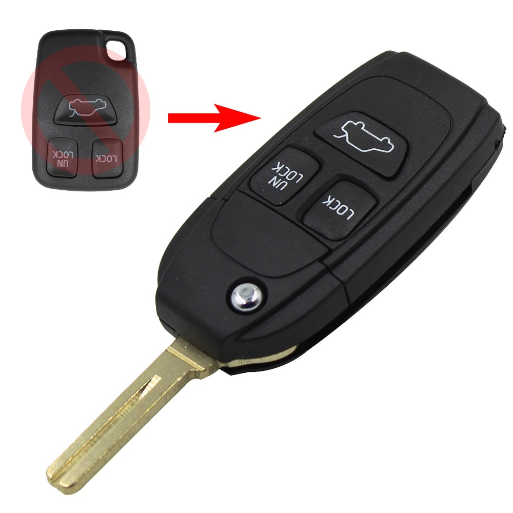 New Folding Key Fob Case 3 Button Flip Remote For Volvo