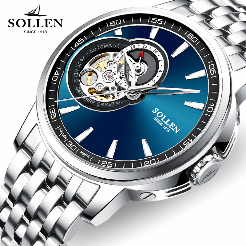 SOLLEN Mechanical Wrist Mens Watch Top Brand Luxury Automatic Clock Men Stainless Steel Skeleton men wristwatches Reloj Hombre top luxury sewor big automatic military watch men gift gold stainless steel diamond skeleton clock mechanical mens wrist watches