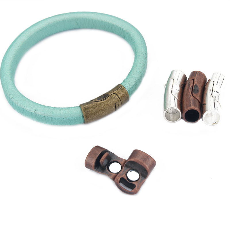 3sets Antique Silver/Bronze/Copper/Shiny Silver Strong Magnetic Clasp For 10*6mm Licorice Leather Cord Bracelet Jewelry Making