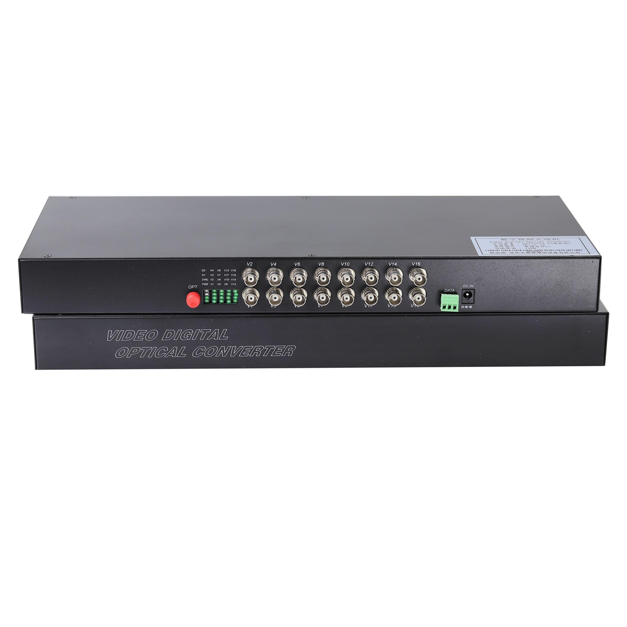 16 Channel Analog Camera Digital FC Signal Mode Fiber Transmitter BNC Optical Converter