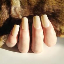 Fashion Full Cover Fake Nail Art Design 24pcs Square Head Middle Glitter False Nails UV Gel Acrylic DIY Tips with Glue
