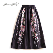 BunniesFairy 2017 Autumn Brand Design 100cm Long Vintage Retro Flower Floral Print Black Maxi Skirt Muslim Women Flared Saias
