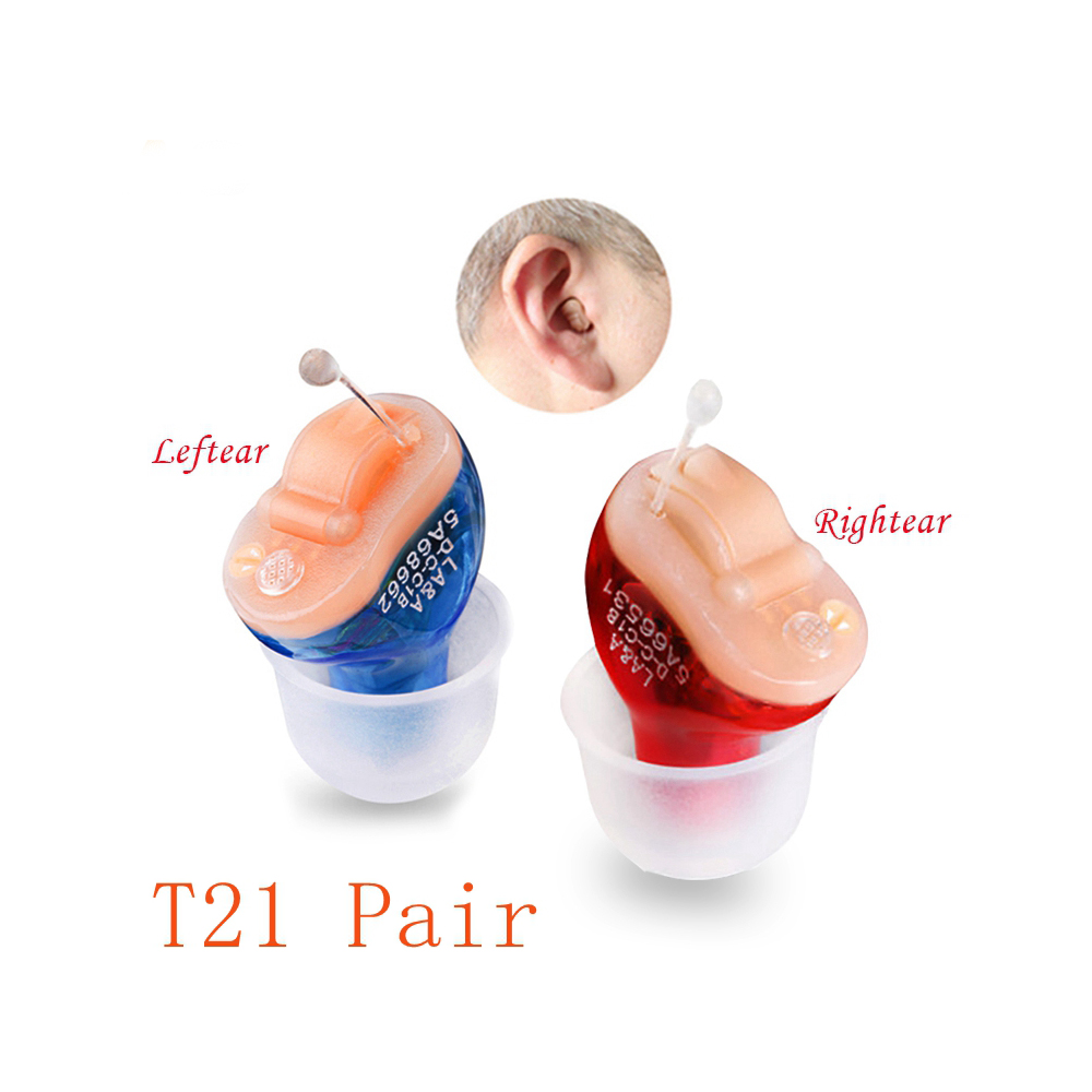 T21 2PCS(Pair) CIC Digital Hearing Aid 2 Channels 4 Bands Sound Amplifier In The Ear Portable Invisible Hearing Aids programmable digital 6 channels ric reaceiver in the ear canal hearing aids with battery 312 my 19