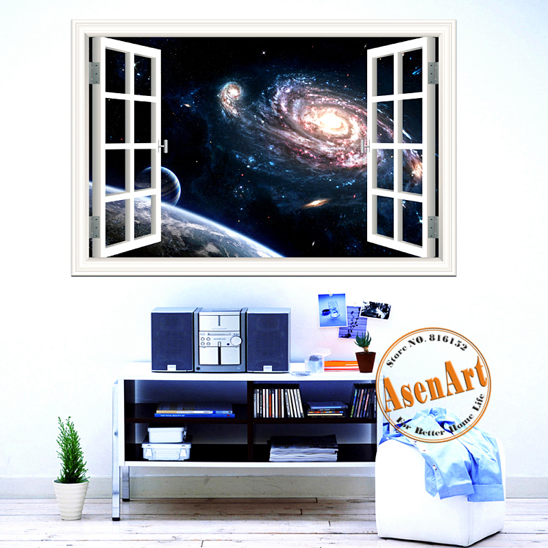 Outer Space <font><b>Stickers</b></font> Planet Galaxy Wall Papers <font><b>Home</b></font> Decor Living Room 3D Window Scenery Wall <font><b>Sticker</b></font> <font><b>Home</b></font> Decals <font><b>Mural</b></font> <font><b>Art</b></font>