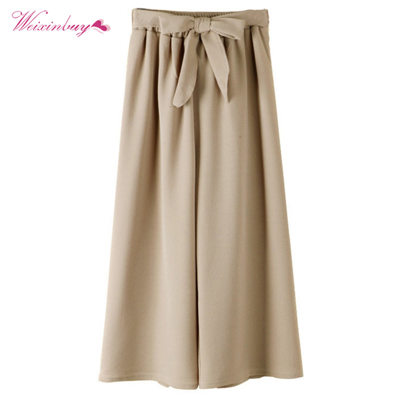 Women Casual Loose   Wide     Leg     Pants   Vintage Elastic Waist Trousers Casual Oversized Solid Long   Pants