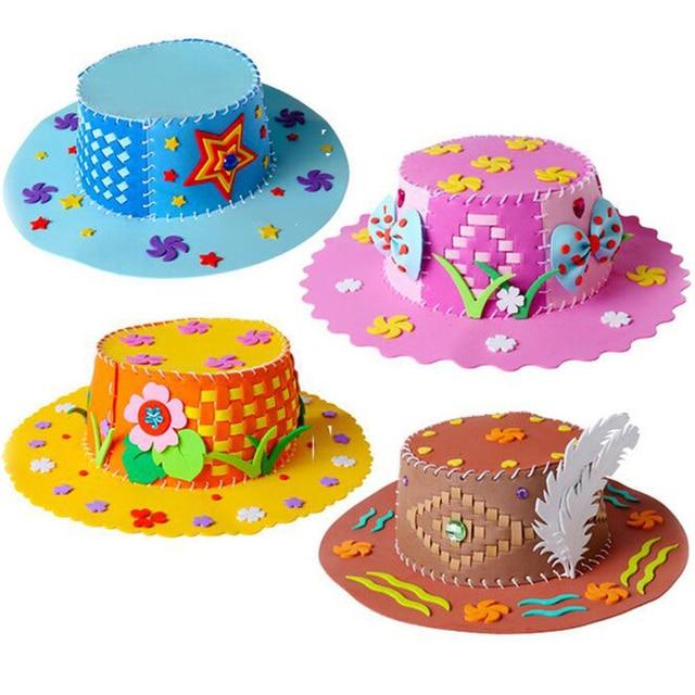 1 Unid Lindo Colorido De Los Ninos Diy Eva Weaving Sombreros