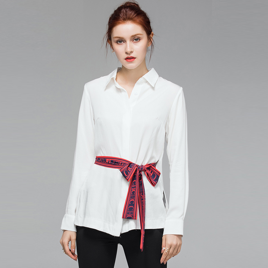 VERDEJULIAY High Quality Office Cotton Tops 2019 Summer Runway White Blouse Letter Print Belt Turn-Down Collar Working Shirts
