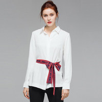 VERDEJULIAY High Quality Office Cotton Tops 2019 Summer Runway White Blouse Letter Print Belt Turn Down Collar Working Shirts