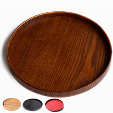 Traditional Chinese Round Plate Wood Solid Food Tray Japanese Tea Tray Tableware Tea Set Hand-Made Natural Wood Serving Tray