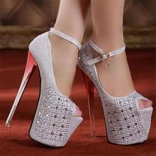 Frauen sexy prom strass hochzeit gold & silber glitter peep toe plattform 20 cm extreme high heels pumpen partei schuhe frau F1