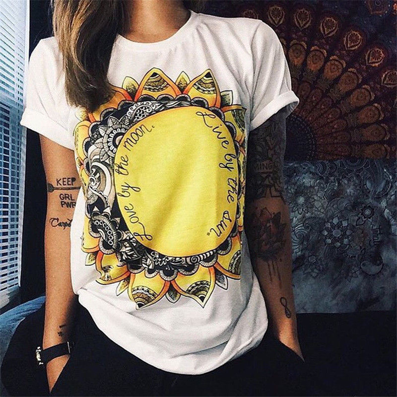 t shirt women 2016 European America Summer Fashion Women Cotton Prints Short Sleeve O-Neck T-shirt White Tops Shirt