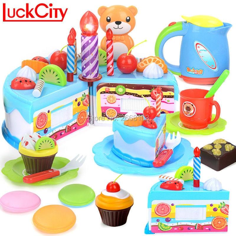 55PCS DIY Kuzhina Lodra edukative miniaturë për tortë Prezantoni Luajnë ditëlindjen e prerjes së ushqimit për fëmijë Kids tortë plastike Dhuratë lodër