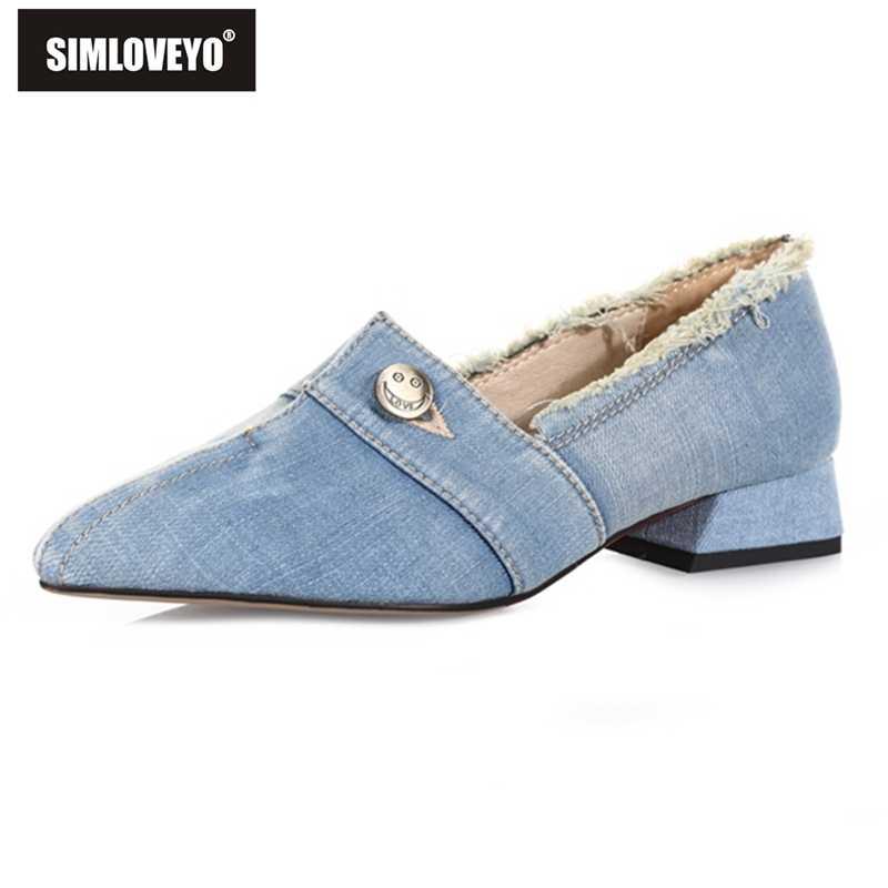 SIMLOVEYO الدنيم مضخات وأشار حذاء مزود بفتحة للأصابع امرأة الربيع الخريف المتسكعون 3 سنتيمتر الكعب المنخفض الانزلاق على الأزرق الداكن الصنادل حجم 39 40