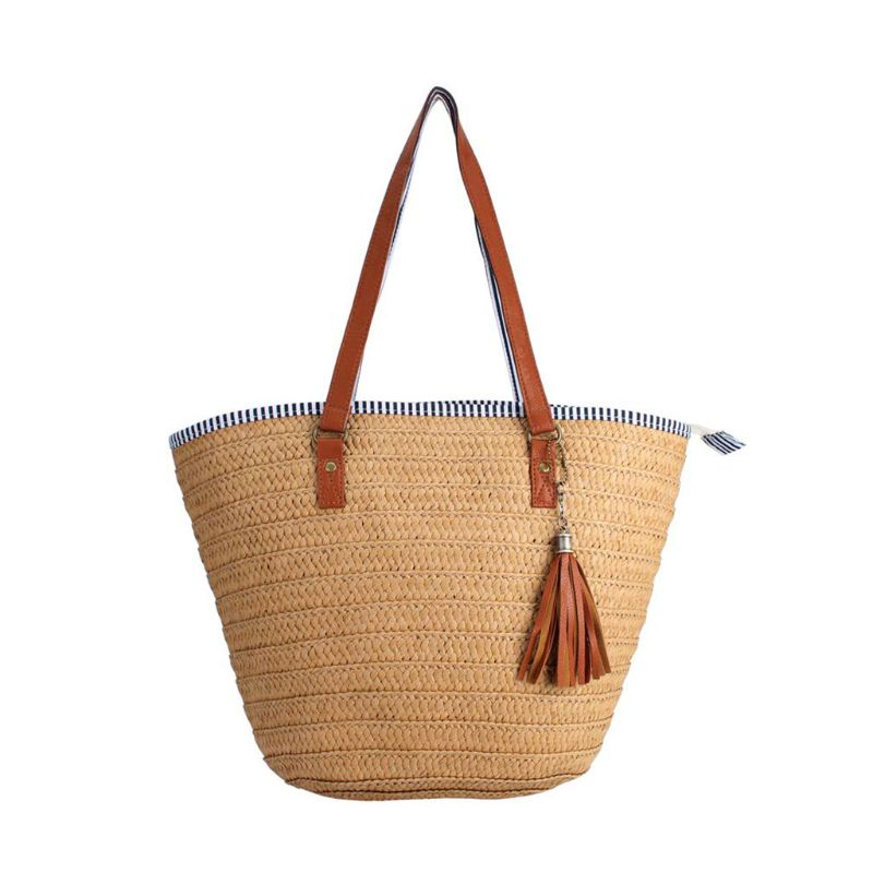 Fashion Summer Beach Straw Bag Top Handle Shoulder Bag Women Tote with Tassels