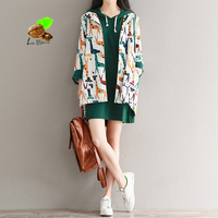 2018 Autumn Animal print medium long fluid retro outerwear loose long sleeve with women hood trench vintage coat casual
