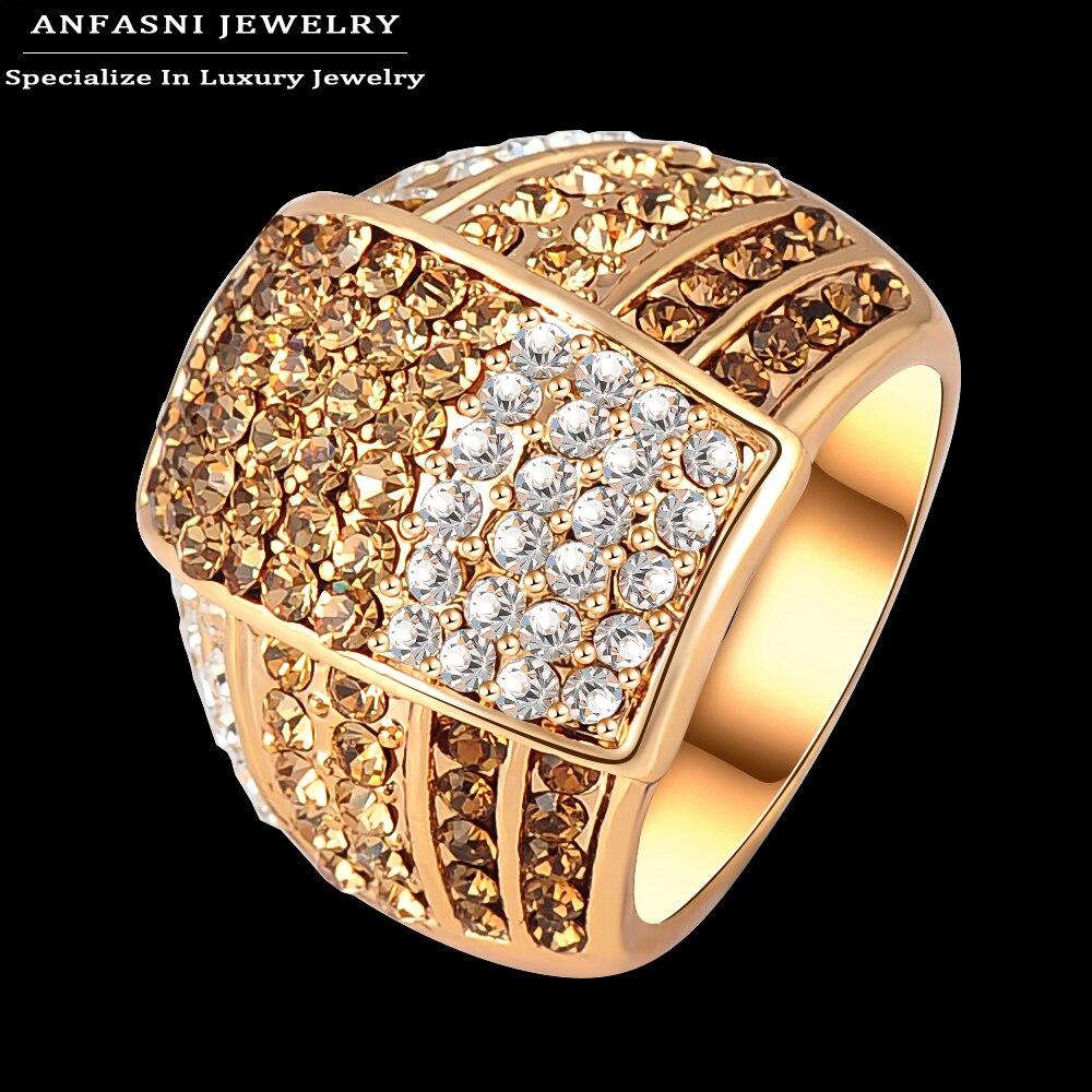 anfasni bijoux fashion multi color genuine austrian crystal ring rose gold plated women costume. Black Bedroom Furniture Sets. Home Design Ideas