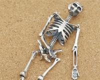 100% S925 серебро Кулон ожерелье череп скелет Для мужчин ожерелье может сделать брелок и ожерелье