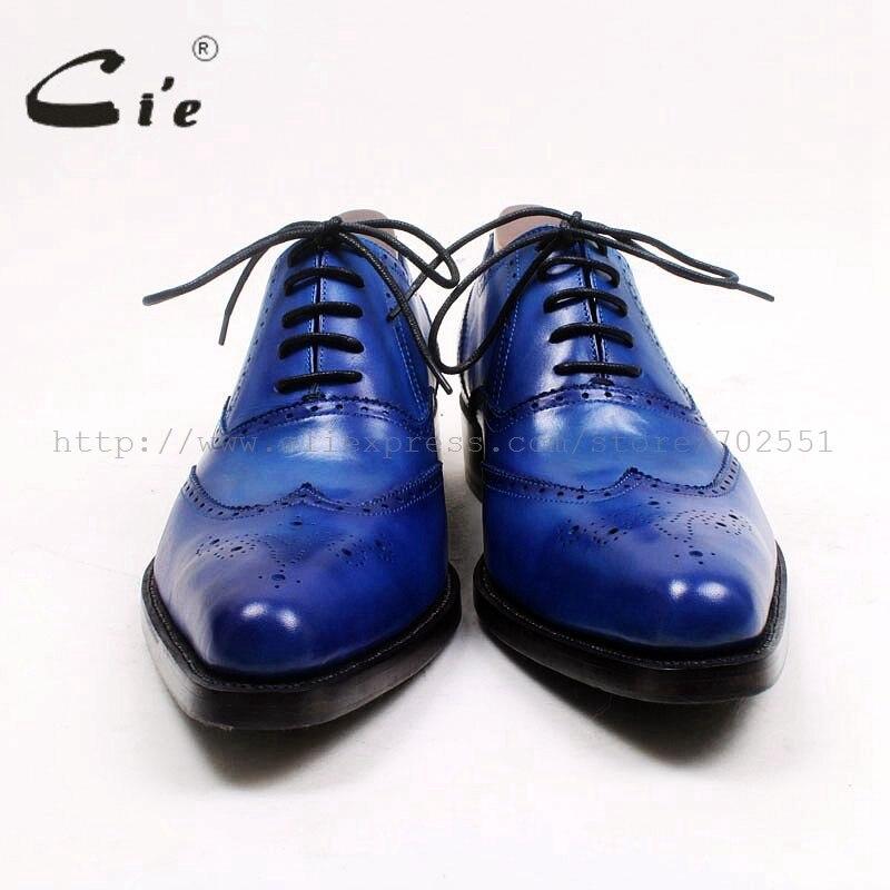 Completa Azul Welted Grão Medida Bezerro Apontado Sapato Sob Goodyear Royal Cie Completo Ox526 Couro Dedo Homens Brogues Dos De Medalhão OXnqw0g8