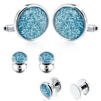 Очаровательный синий пыли Кристалл Смокинг Запонки шпильки Мода Джентльмен рубашка ювелирные изделия поставляются с коробкой