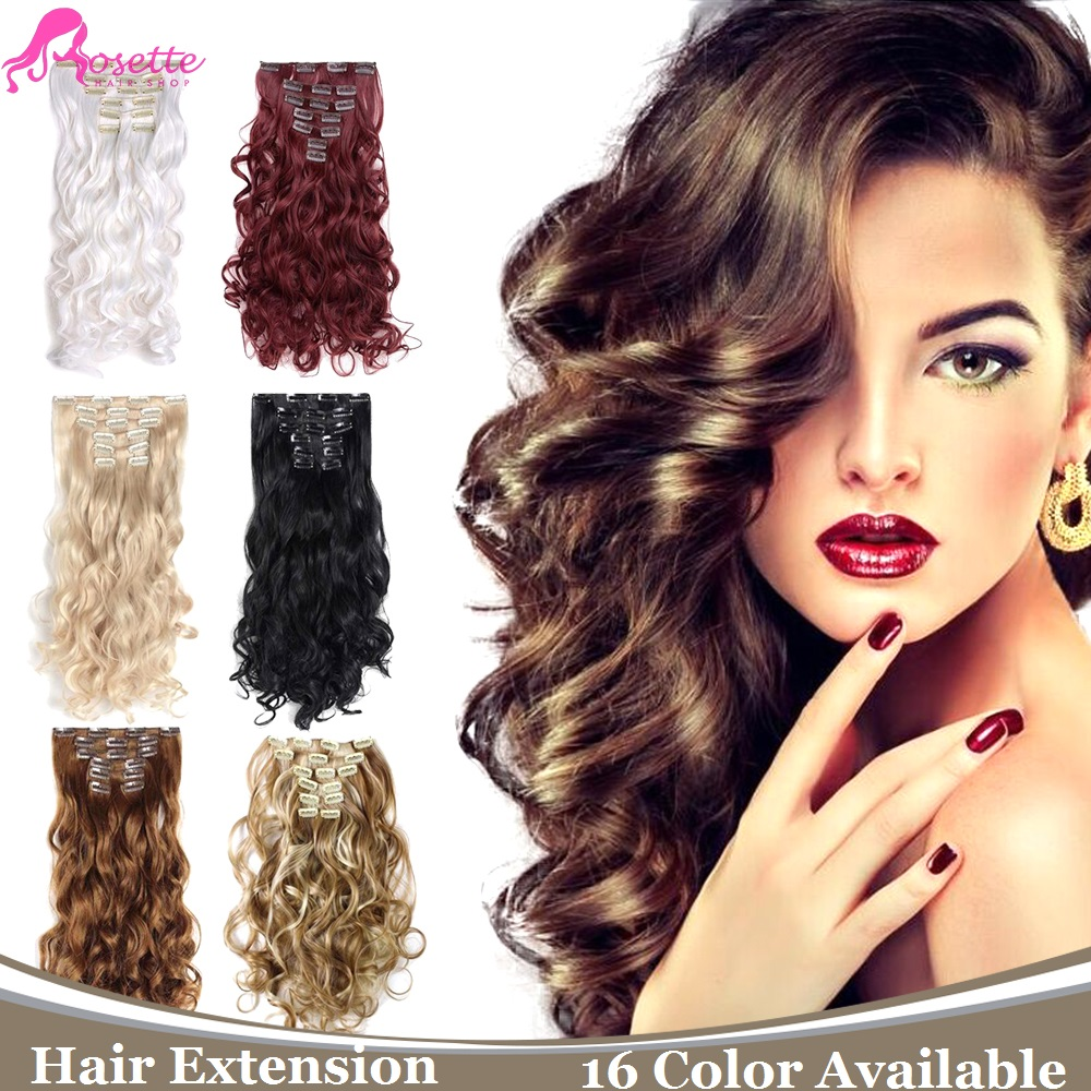 Heat Resistant Synthetic Hair Extensions 16colors 7pcs Set