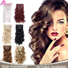 Heat Resistant Synthetic Hair Extensions  16Colors 7Pcs/set Clip In Hair Natural Curly Wavy Hair Extension Long Hair Piece