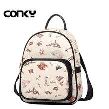 Бренд 2016 года новый женский рюкзак vintage печать рюкзаки для девочек-подростков школьные сумки в консервативном стиле искусственная кожа рюкзак
