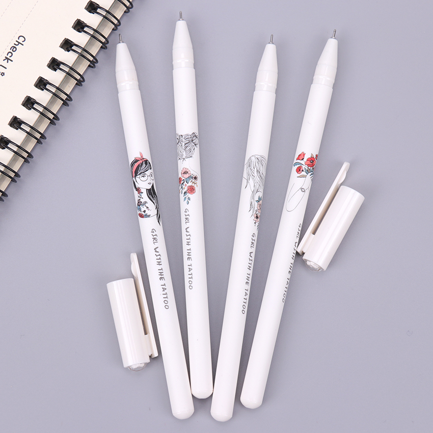 1PC 0 5mm Kawaii Girl with the Tattoo Pen Black Ink Gel Pen School Office Writing Supplies Student Stationery G 951F in Gel Pens from Office School Supplies