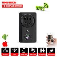 NINIVISÃO Panorâmica de 180 Graus WI-FI CCTV Home Security Camera 1080 p USB Adaptador de Carregador de Tomada de Parede Câmera com IR/ leds brancos