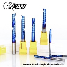 XCAN 1pc 4/6mm Shank 1 Flute End Mill Carbide End Mill Blue Coating CNC Router Bit Single Flute End Mill Milling Cutter 5pcs 15 5mm two flute hss end mill cutter cnc bit