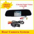 """2 em 1 CCD câmera de visão traseira para NISSAN QASHQAI Nissan X-TRAIL + 4.3 """"Espelho de Carro, moldura da placa de licença de estacionamento do monitor da câmara"""