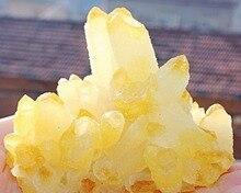Редко! Новый найти Желтый цитрин кристалл кварца кластера образца
