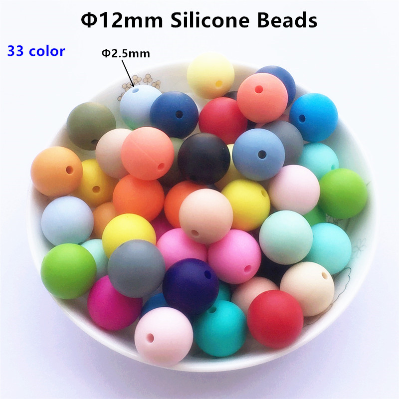 Chenkai 100pcs 12mm BPA Free Round Silicone Teether Beads DIY Baby Shower Pacifier Dummy Chain Clip Chewing Jewelry Teethers Toy