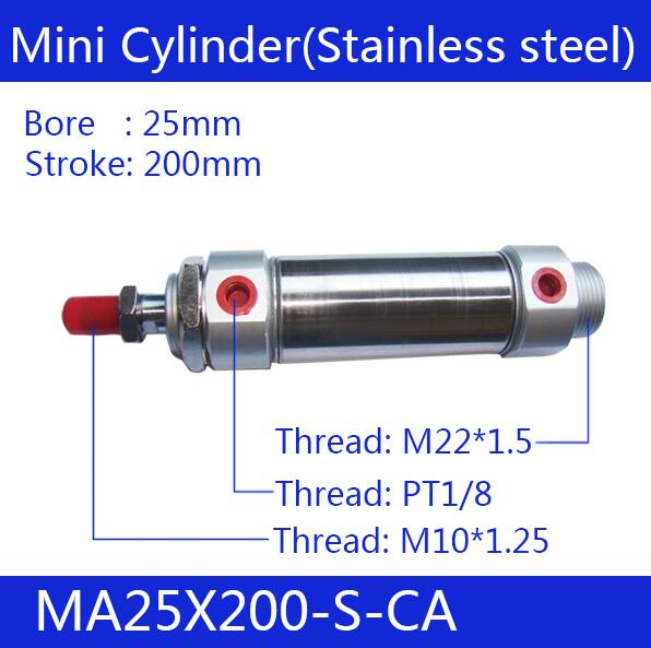 Free shipping Pneumatic Stainless Air Cylinder 25MM Bore 500MM Stroke , MA25X500-S-CA, 25x500 Double Action Mini Round Cylinders free shipping pneumatic stainless air cylinder 16mm bore 150mm stroke ma16x150 s ca 16 150 double action mini round cylinders