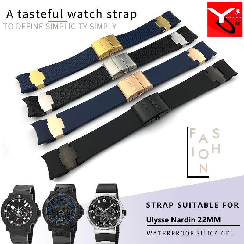 Ремешок для часов из силиконовой резины, 22 мм, водонепроницаемый, для Ulysse Nardin DIVER 263, мужские механические аксессуары для часов