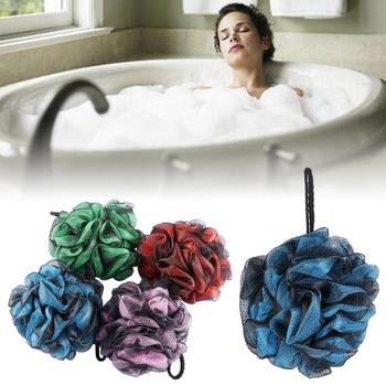 Rich Bubble Double Color Soft Bath Ball Flower Brush Tubs Scrub Shower Body Cleaning Mesh Wash Sponge Bathroom Accessories Brush
