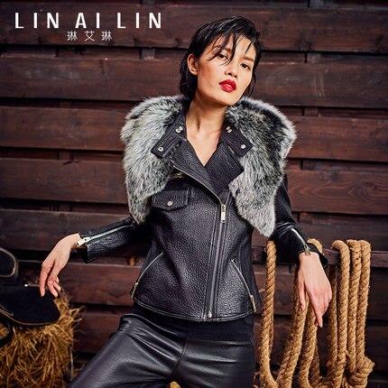 Woman Fur Short Paragraph Slim Sheep Skin Genuine Leather Leather Clothing    GSJ001