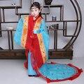 Новый стиль Дети Костюм Девушки Древней Династии Тан Костюм Hanfu Хвостохранилища Принцесса Королевский Танец для Девочек