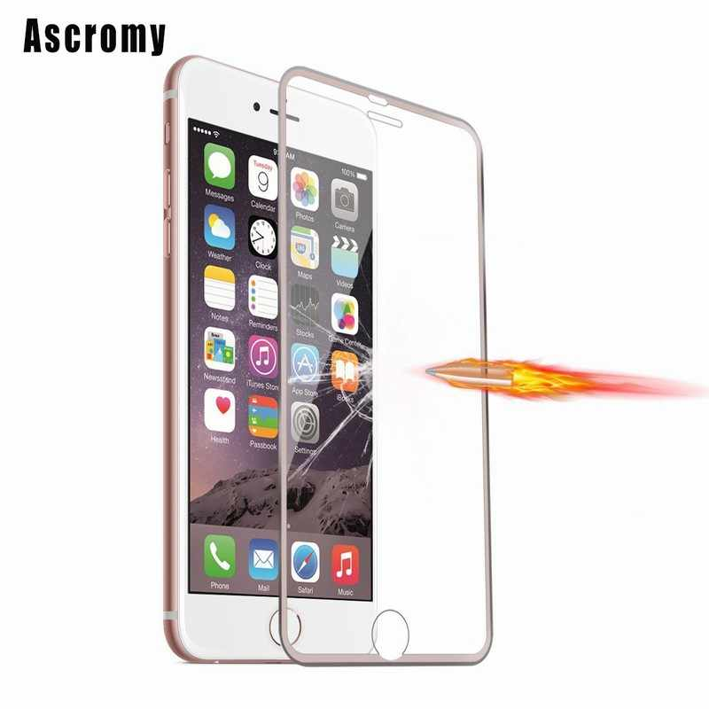 Ascromy For iPhone 6 6S Full Cover Screen Protector 3D Curved Edge Metal Frame Tempered Glass for iPhone 6 S 6S cristal templado